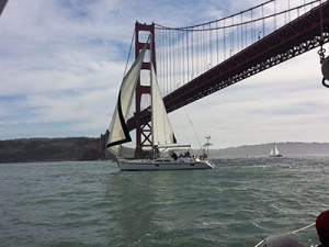 Sailboat Sailing Under the Golden Gate Bridge
