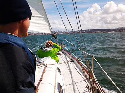 Veteran Sailing on San Francisco Bay with Transformational Sailing